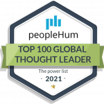 Hexagon shaped badge from peopleHum for being on their 2021 Top 100 Global Thought Leader power list.