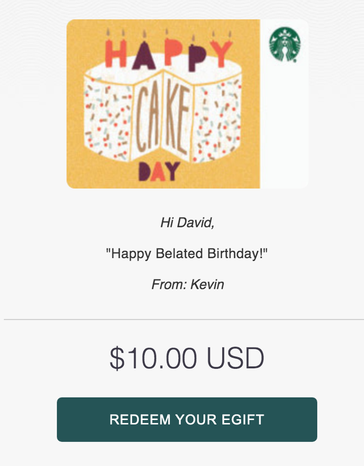 Image of a $10 Starbucks gift card that has a birthday cake on it